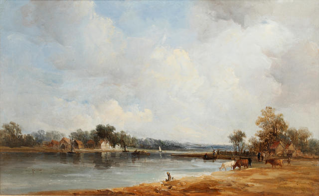 Alfred Vickers (British, 1786-1868) - An extensive river landscape with cattle at the water's edge, Signed dated '1841', oil on canvas, 16.7 x 27cm (6 9/16 x 10 5/8in).