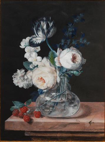 Joseph August Satory (19th Century) Still life of flowers