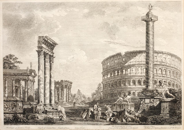 After Giovanni Paolo Panini Temple of Minerva and other classical ruins in Italy 18th Century engravings, a set of four 34 x 47cm. (4)