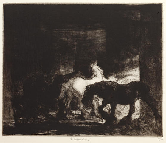 "Edmund Blampied (British, 1886-1966) Night-time in a Stable Etching, plate dated Jan 1948, signed and numbered 20/100 in pencil, 25 x 30cm, (unframed), together with another by the same hand ""Fire in a Stable"", signed and numbered 21/100 in pencil, 17 x 22cm, and twenty other prints by various British and contintental artists including: Stanley Anderson, Arthur Brisco, Marius Bauer, Louis Rosberg, Job Nixon, William Walcott, Ernest Lumsden, William Morgan, Edward Hoyton, Geoffrey Wedgwood, Joseph Grey and Kerr Ely 22"