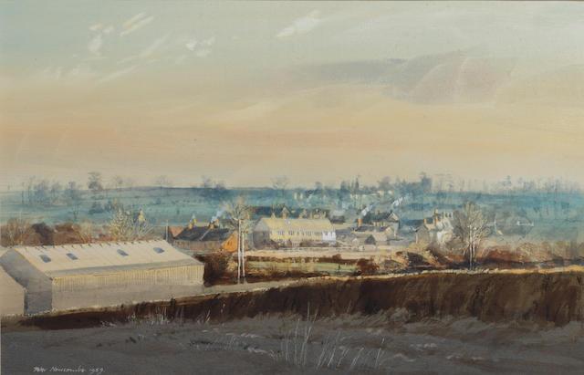 Peter Newcombe (British) Evening light, Helmdon