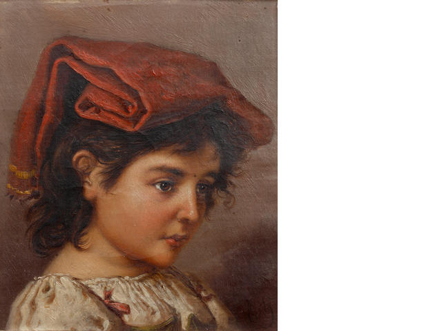 Italian School, 19th Century Portraits of a girl and a boy