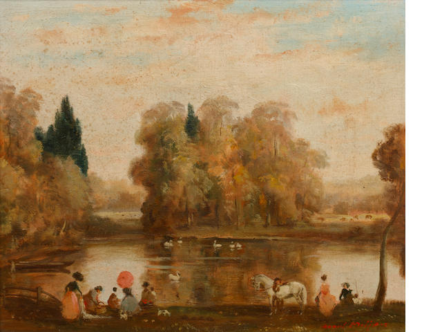 Raoul Millais (British, 1901-1999) Figures by a lake in an autumnal landscape