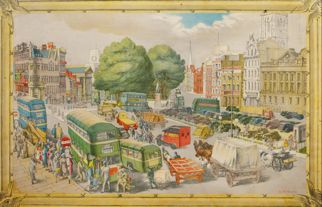 Russell Sidney Reeve (British, 1895-1970) The Elephant Act colour lithograph 42 x 68 cm. (16 1/2 x 26 3/4 in.) and two further lithographs of a similar size, Phyllis Ginger 'Town Centre' and Barbara Jones 'Fairground' 3