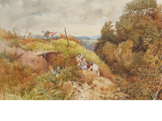 Patty Townsend Johnson (British, ?-1907) Gypsy family in a hilly landscape