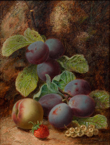 Oliver Clare (British, 1853-1927) Still life of grapes and plums on a mossy bank; and companion