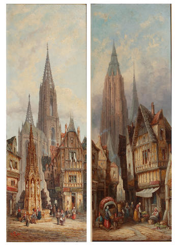 Henry Schafer (British, died circa 1900) Caudebec and Bamberg, Bavaria (a pair)