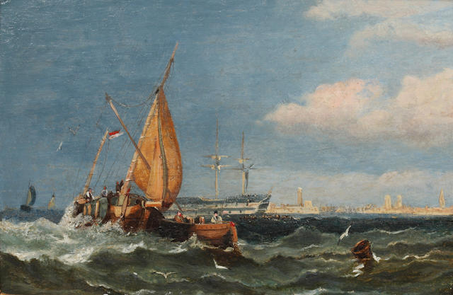 Attributed to Miles Edmund Cotman (British, 1810-1858) Shipping Off the Coast 14.5 x 22cm.