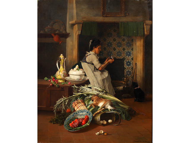 David Emile Joseph de Noter (Belgian, 1825-1892) Kitchen maid with game and vegetables