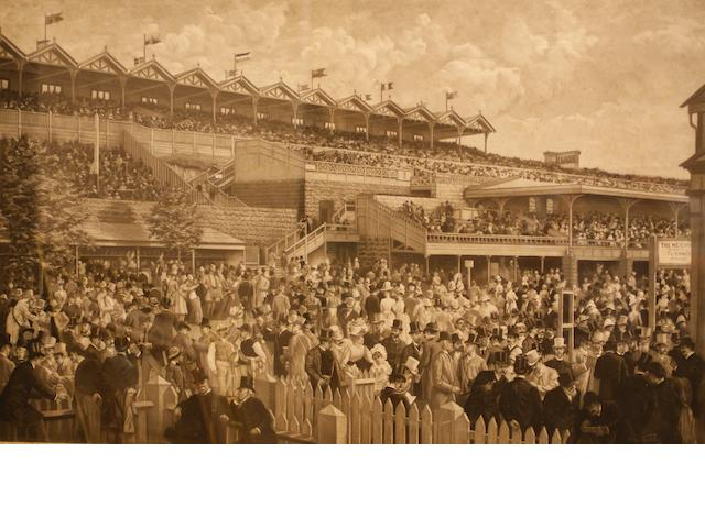 The Betting Ring at Flemington and The Lawn at Flemington on Melbourne Cup Day 1887