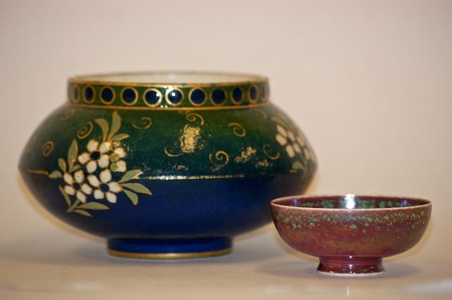 A small Ruskin Pottery flambe glazed bowl