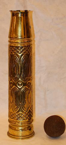 A World War I Trench Art brass shell case vase