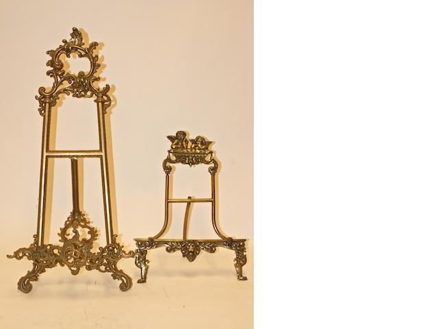 Two brass easels