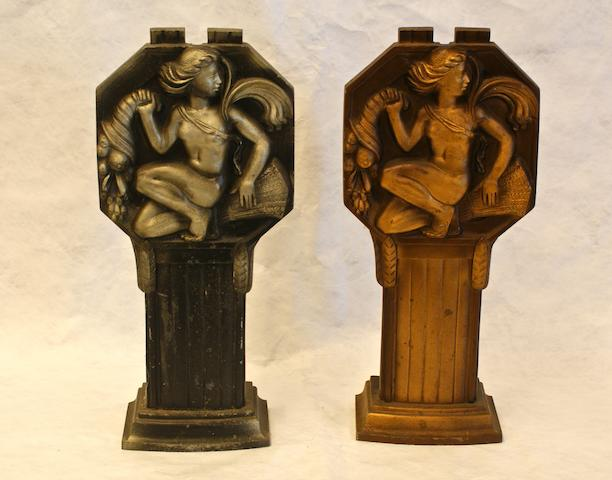 Two Art Deco cast metal pedestal fitting by Bham Guild Ltd, Birmingham