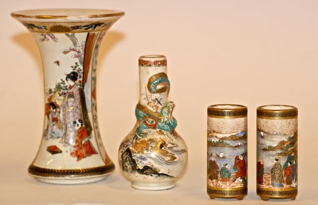 Four Japanese Satsuma Vases, Meiji Period