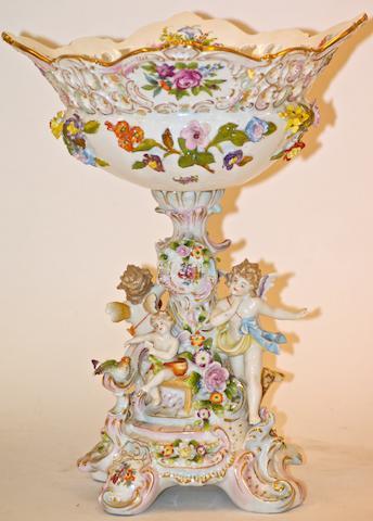 A German Sitzendorf porcelain centrepiece,