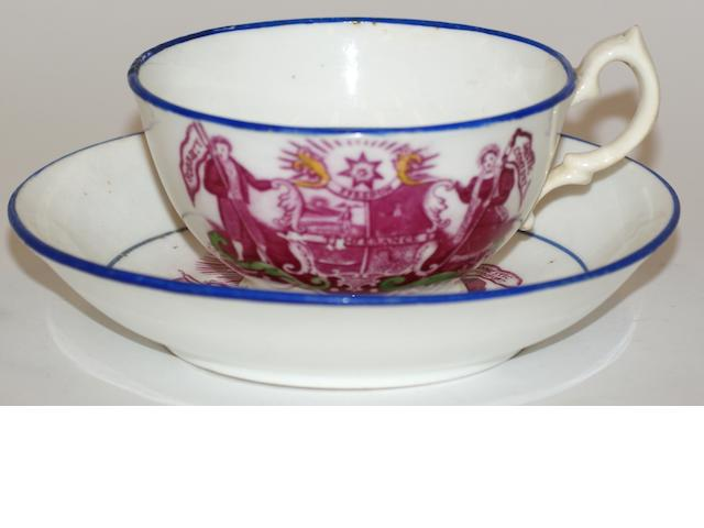 A Victorian Temperance Star porcelain cup and saucer