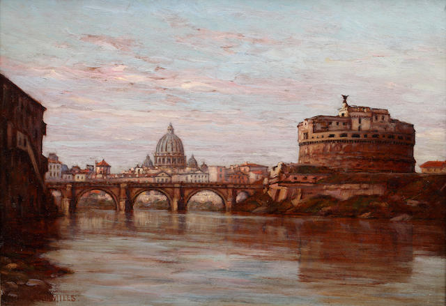 Edward Mills (British, 19th Century) St Peter's and Castel Saint Angelo from the Tiber