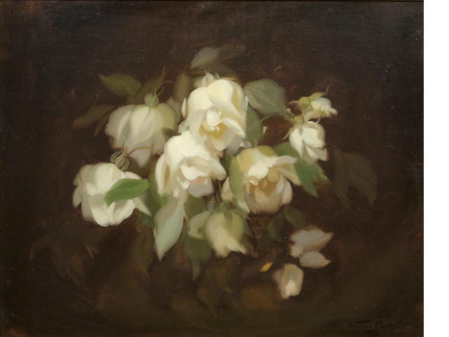 JAMES STUART PARK Bell shaped white roses<BR />Signed<BR />Oil on canvas<BR />38 x 49cm