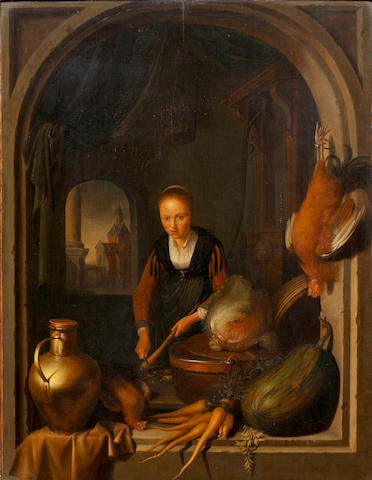GERRIT DON 'Preparing the Food'<BR />Oil on panel<BR />56 44cm
