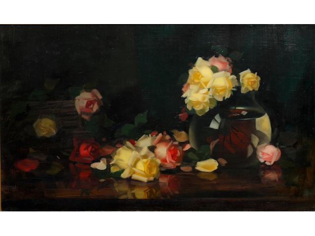 James Stuart Park (British, 1862-1933) Still life: Pink and Yellow