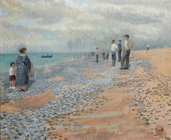 ENGLISH SCHOOL Beach scene<BR />Oil on canvas<BR />45 x 55cm