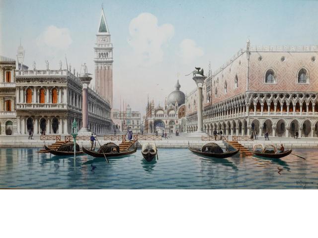 Umberto Ongania (Italian) The Piazzetta, Venice