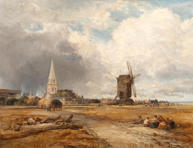 James Webb (British, 1825-1895) View of Heene, Sussex, with church and mill