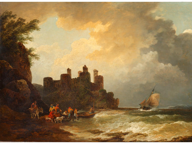 Philip James de Loutherbourg (Basel 1740-1812 Chiswick) Figures on a rocky shoreline, before a castle
