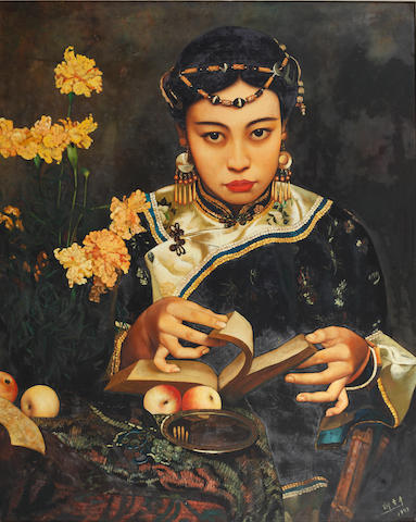 Di Lifong (Chinese, born 1958) A girl reading
