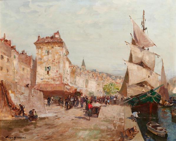 Merio Ameglio (Italian, 1897-1970) A busy quayside