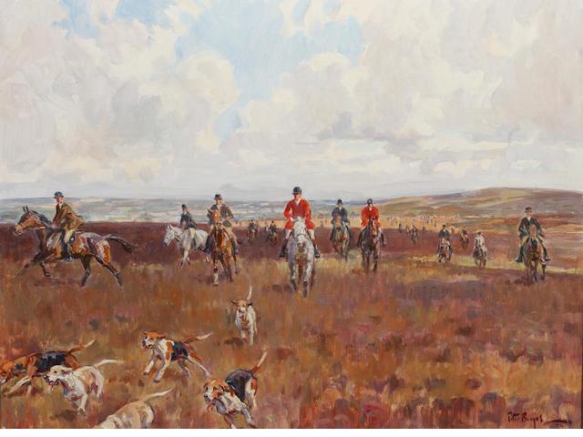Peter Biegel (1913-1987) Moorland hunting scene