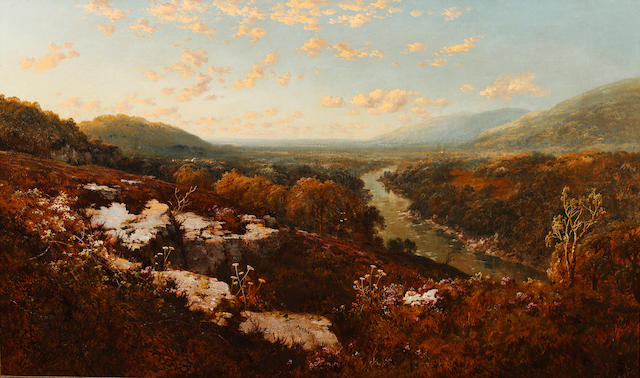 Edmund John Niemann (British, 1813-1876) View of a river in a moorland valley