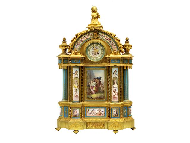 A large 19th century Sevres panel gilt bronze mounted mantel clock, the movement sign Hersant F'OT 1874