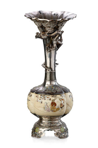 A large Japanese Shibayama, silver, enamel and ivory vase, Meiji period, inscribed mark Miho