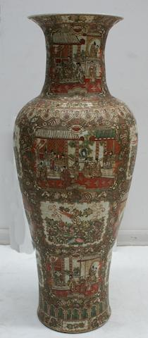 A large Cantonese famille verte floor vase early 20th century