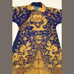 A Chinese blue embroidered robe