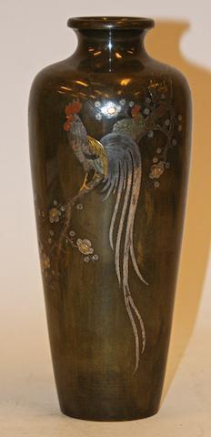 A Japanese bronze slender mixed metal vase, Meiji Period signed Shungyo Koku