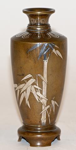 A Japanese bronze mixed metal vase, Meiji Period signed Kyoto Kuroda Zo and Koven Kaku