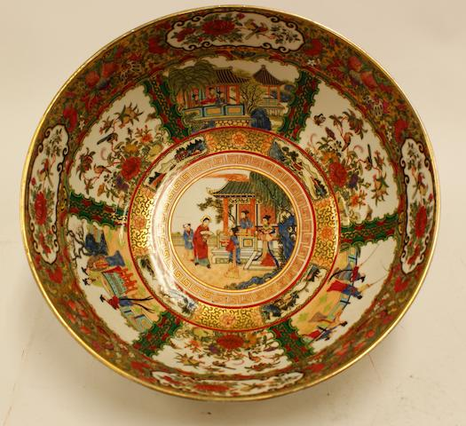 A large Chinese Canton famille rose bowl, Qianlong mask but late 19th century