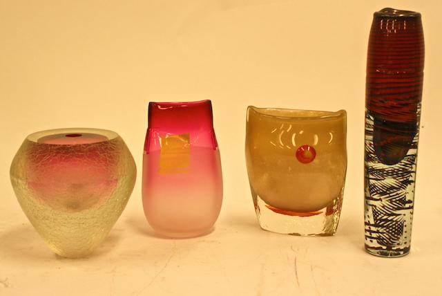 circa 1987-90 Four Modern glass vases by Brian Hirst