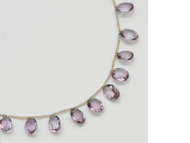 A Victorian amethyst and seed pearl fringe necklace