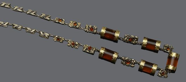 A fancy-link amber necklace