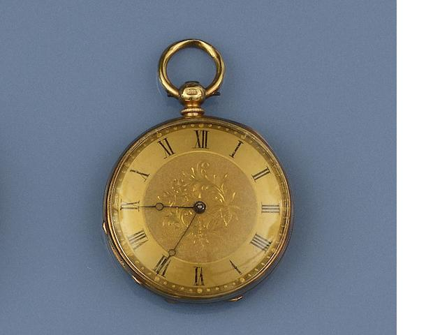 An open face pocket watch and a diamond single stone ring(2)