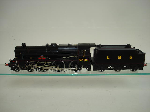 A 7mm finescale model of a Class 5 4-6-0 'Alderman AE Draper' locomotive No.5305 and tender Built by Vic Green and painted by Alan Brackenborough