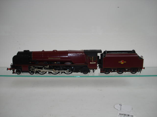 A 7mm finescale model of a Duchess class 4-6-2 'Duchess of Hamilton' locomotive No.46229 and tender Built by Vic Green and painted by Alan Brackenborough
