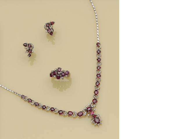 A ruby and diamond necklace, ring and earring suite (3)