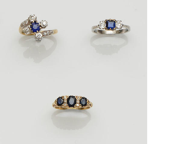 Three sapphire and diamond rings (3)