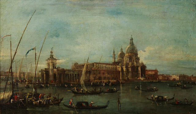 Attributed to Giacomo Guardi (Venice  1764-1835) A view of the Dogana and Santa Maria della Salute, Venice