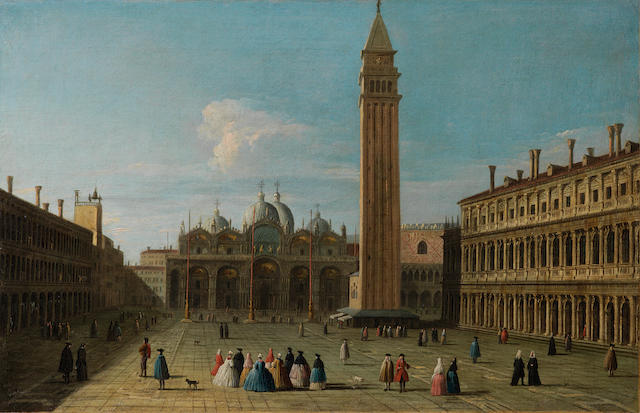 Attributed to Johan Anton Richter, called Giovanni Richter (Stockholm 1665-1745 Venice) The Piazza San Marco, Venice unframed